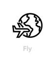 fly globe earth icon editable line vector image