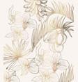 golden tropic flowers line art summer floral vector image vector image
