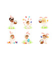 happy easter collection cute little boys and vector image vector image