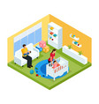 isometric baby room interior concept vector image vector image