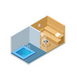isometric sauna interior and cold pool empty vector image vector image