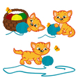 kitten playing with balls of yarn vector image vector image