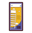 line color leaning tower of pisa ticket vacation vector image vector image