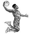 monochromatic cartoon basketball player is moving