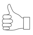 monochrome silhouette of right hand thumb up vector image vector image