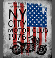 motorcycle tee graphic with american flag vector image vector image
