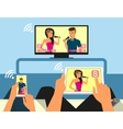 Multiscreen interaction Man and woman are