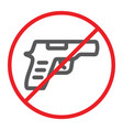 no gun line icon prohibited and restriction no vector image vector image