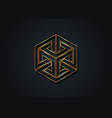 optical illusion gold impossible cube 3d logo vector image vector image