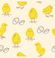 pattern with chickens and eggs vector image