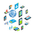 phone isometric 3d icons vector image vector image
