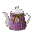 purple ceramic teapot isolated on white background vector image