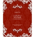 red 3d vintage invitation card with floral vector image vector image
