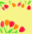 red yellow tulips used as a postcard in moms day vector image