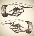 retro Vintage pointing hand vector image