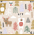 seamless winter pattern with bear deer mouse and vector image