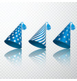 set of blue birthday hat birthday paper cone cap vector image vector image