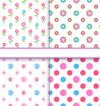 Set of floral and polka dot fabric seamless vector image vector image
