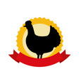 silhouette chicken on white background vector image