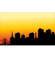 Silhouette of the city and the bridge vector image vector image