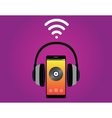 smartphone with headphone listening music use wifi vector image