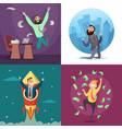 successful funny and happy businessmen in active vector image
