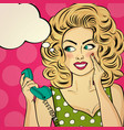 surprised pop art woman with retro phone who vector image vector image