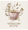 Vintage Card with Cup Flowers and Butterfly vector image vector image