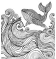 whale and ocean waves coloring page vector image vector image