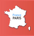 white silhouette of france caption on contour of vector image vector image