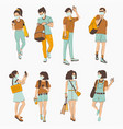 young people wearing on medical masks anti viral vector image