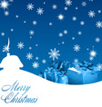 blue christmas background with gift boxes vector image