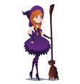 witch girl with broom cute young woman in style vector image
