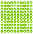 100 fish icons set green circle vector image vector image