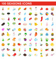 100 seasons icons set isometric 3d style vector image vector image