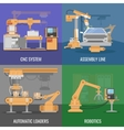 Automated Assembly Icon Set vector image vector image
