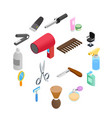 barber shop isometric 3d icons vector image vector image