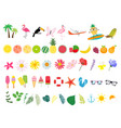 big collection set elements for summer poster vector image