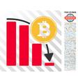 bitcoin falling chart flat icon with bonus vector image vector image