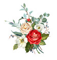 bouquet with roses vector image vector image