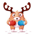 boxing sport crazy deer vector image