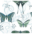 butterfly seamless pattern with swirls vector image vector image