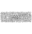 cartoon cute doodles pizza word vector image