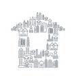 city buildings lined icons set vector image