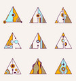 collection of geometric triangles vector image vector image