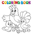coloring book chickens and hen theme 1 vector image vector image