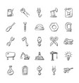 construction doodles icons set vector image vector image