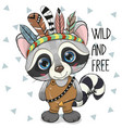 cute cartoon tribal raccoon with feathers vector image