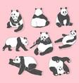 cute panda bear collection hand drawn vector image