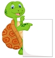 Cute turtle cartoon with blank sign vector image vector image